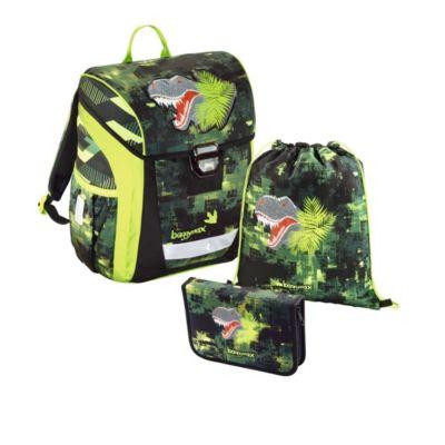 BAGGYMAX Trikky Schulranzenset Toploader Light Green Dino