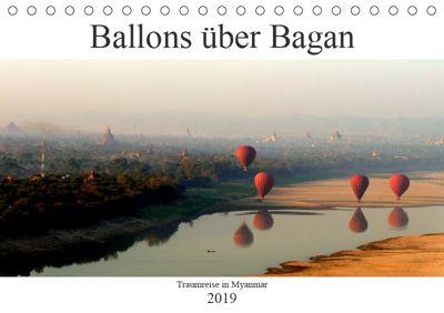 Ballons über Bagan (Tischkalender 2019 DIN A5 quer), Jacqueline Brumma