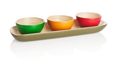 Bambusschälchen auf Servierplatte, 4tlg.