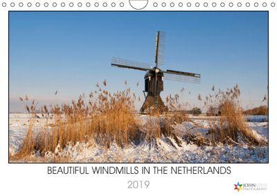 Beautiful windmills in the Netherlands (Wall Calendar 2019 DIN A4 Landscape), John Stuij