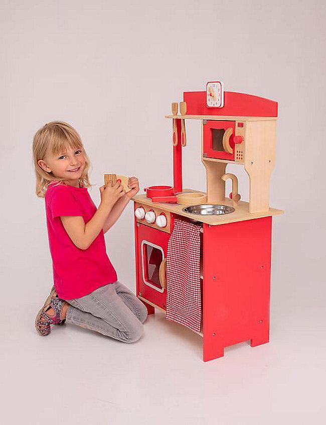 Beeboo Kinder-Holzküche rot, mit Zubehör bestellen   Weltbild.de