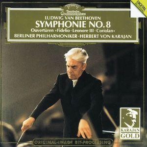 Beethoven: Symphony No.8, Overtures: Coriolan, Fidelio, Leonore No.3, Herbert von Karajan, Bp