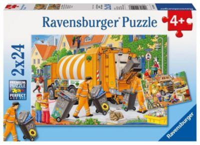 Bei der Müllabfuhr. Puzzle 2 x 24 Teile