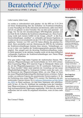 Beraterbrief Pflege Ausgabe Februar 2018/3, Carmen P. Baake