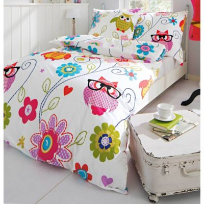 bettw sche eule blumen gr e 135 x 200 cm. Black Bedroom Furniture Sets. Home Design Ideas