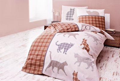 bettw sche katze natur 135 x 200 cm. Black Bedroom Furniture Sets. Home Design Ideas