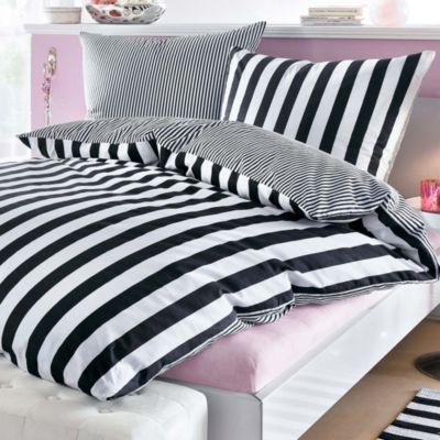 bettw sche mit streifen schwarz wei bestellen. Black Bedroom Furniture Sets. Home Design Ideas