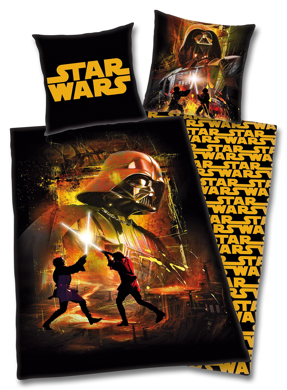 Bettwäsche Star Wars Linon Schwarz Gelb 135 X 200 Cm Weltbildde