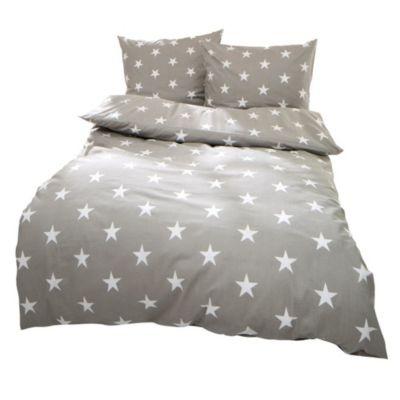 Bettwäsche Sterne hellgrau 155x220cm, Kissenbezug 80x80 cm