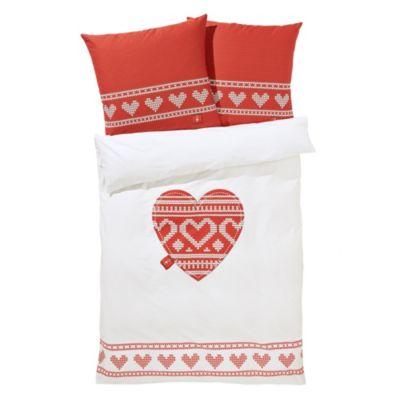 bettw sche strickherz rot wei 155x220 bestellen. Black Bedroom Furniture Sets. Home Design Ideas