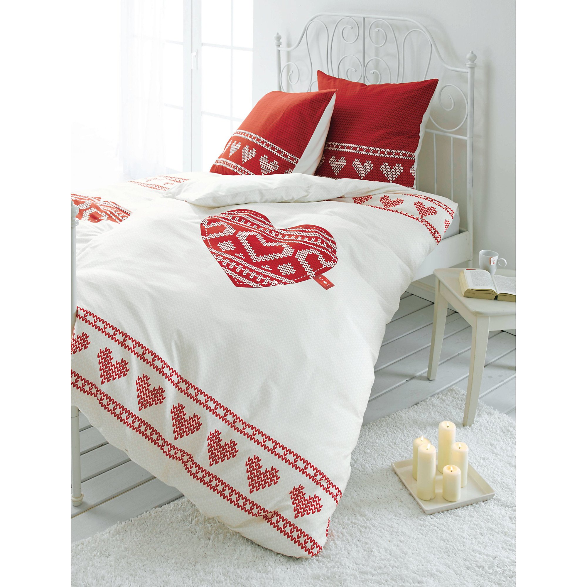 Bettwäsche Strickherz Rot Weiß 155x220 Bestellen Weltbildde