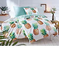 Bettwäsche Sweet Ananas Weiß/Grün 135 x 200 cm - Produktdetailbild 1