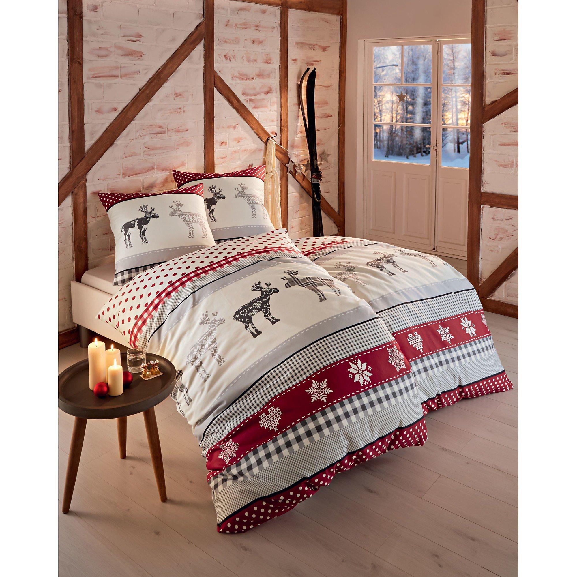 Bettwasche Winterdream Rot Grau 135 X 200 Cm Weltbild De
