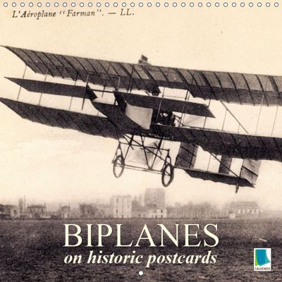 Biplanes on historic postcards (Wall Calendar 2019 300 × 300 mm Square), CALVENDO