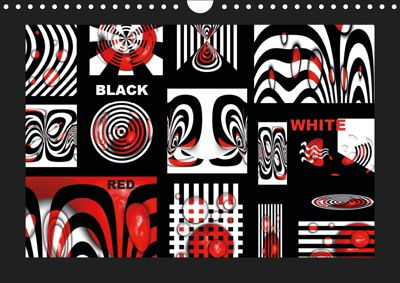 Black, white, red/UK-Version (Wall Calendar 2019 DIN A4 Landscape), Claudia Burlager