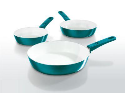 bratmaxx Keramik-Hochrandpfannen mit abnehmbaren Griffen, 3-er Set, smaragdgrün