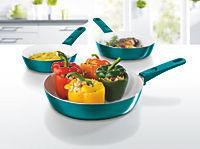 bratmaxx Keramik-Hochrandpfannen mit abnehmbaren Griffen, 3-er Set, smaragdgrün - Produktdetailbild 1