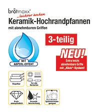 bratmaxx Keramik-Hochrandpfannen mit abnehmbaren Griffen, 3-er Set, smaragdgrün - Produktdetailbild 6