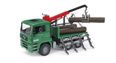 BRUDER 2769 MAN Holztransport-LKW mit Ladekran, Modellfahrzeug, bruder®