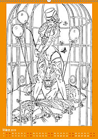 Burlesque Malkalender, Malbuch / burlesque coloring book mit Bildern von Sara Horwath (Wandkalender 2019 DIN A2 hoch) - Produktdetailbild 3