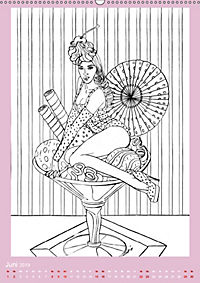 Burlesque Malkalender, Malbuch / burlesque coloring book mit Bildern von Sara Horwath (Wandkalender 2019 DIN A2 hoch) - Produktdetailbild 6