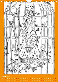 Burlesque Malkalender, Malbuch / burlesque coloring book mit Bildern von Sara Horwath (Wandkalender 2019 DIN A4 hoch) - Produktdetailbild 3