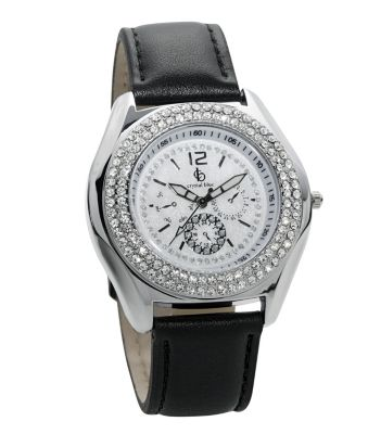cb Armbanduhr Damen mit Glitzersteinen, silber-schwarz