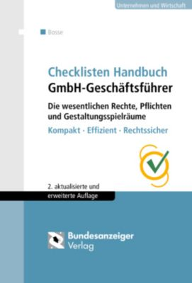 Checklisten Handbuch GmbH-Geschäftsführer, m. CD-ROM, Christian Bosse