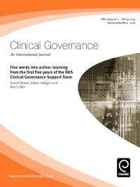 Clinical Governance: An International Journal: Clinical Governance: An International Journal, Volume 11, Issue 1
