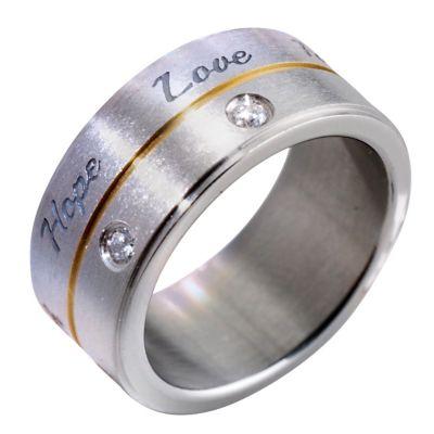CM Ring Hope, Love, Faith, Edelstahl (Größe:21)