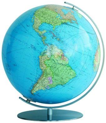 Columbus Globen, Professional Line: DUO Leuchtglobus, Fuß und Meridian Metall, Edelstahl, matt
