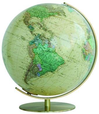 Columbus Globen, Professional Line: ROYAL Leuchtglobus, Fuß und Meridian Metall, Messingausführung, glänzend