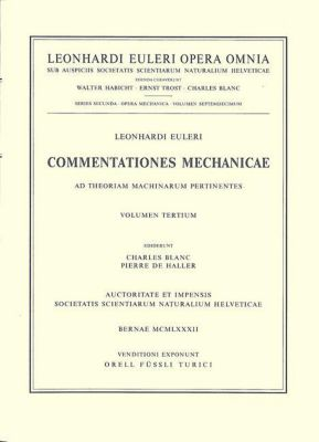 Commentationes mechanicae et astronomicae ad physicam pertinentes, Leonhard Euler