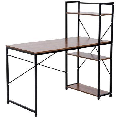 Computertisch mit Regal (Farbe: schwarz)