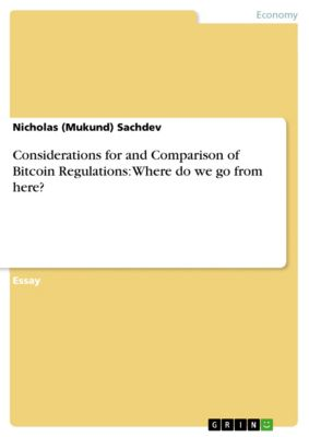Considerations for and Comparison of Bitcoin Regulations: Where do we go from here?, Nicholas (Mukund) Sachdev
