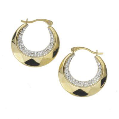 Crystelle Creole 375/- Gold Swarovski Kristalle weiß 1,8cm glänzend
