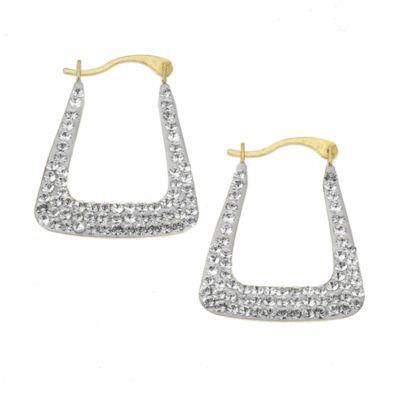 Crystelle Creole 375/- Gold Swarovski Kristalle weiß 2,1cm glänzend