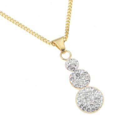 Crystelle Gold Anhänger mit Kette 375/- Gelbgold Swarovski Kristalle weiß