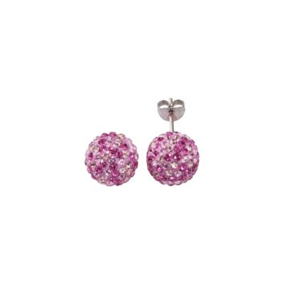 Crystelle Ohrstecker 925/- Sterling Silber Swarovski Kristalle rosa 1,0cm Geschwärzt