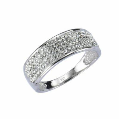 Crystelle Ring 925/- Sterling Silber Swarovski Kristalle weiß Glänzend (Größe: 020 (63,7))