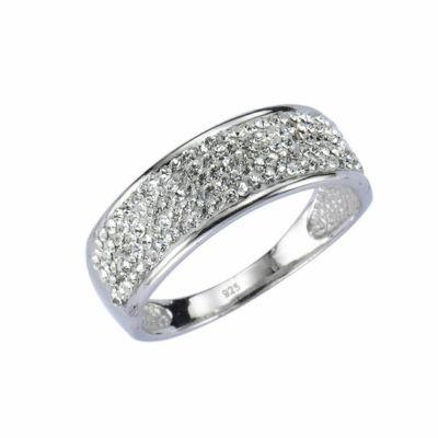 Crystelle Silber Ring 925/- Sterling Silber Swarovski Kristalle (Größe: 019 (60,0))