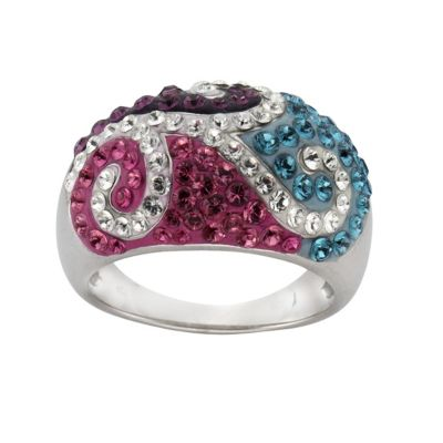 Crystelle Silber Ring 925/- Sterling Silber Swarovski Kristalle (Größe: 058 (18,5))