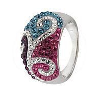 Crystelle Silber Ring 925/- Sterling Silber Swarovski Kristalle (Größe: 060 (19,1)) - Produktdetailbild 1