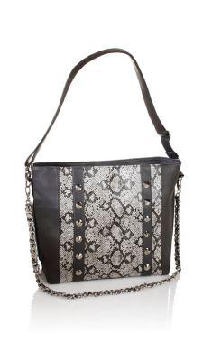 Damen Handtasche Snake, grau