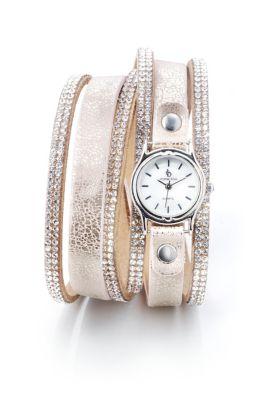 Damen Wickelarmband mit Uhr, rosé/silber