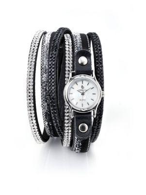 Damen Wickelarmband mit Uhr, schwarz/silber