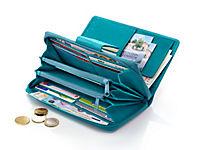 Damenbörse Echtleder mit Prägung, Aqua - Produktdetailbild 1