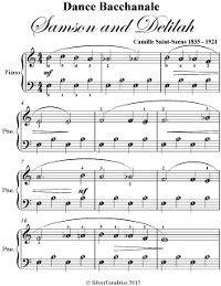Dance Bacchanale Samson and Delilah Easiest Piano Sheet Music, Camille Saint Saens