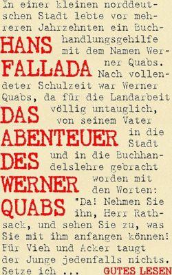 Das Abenteuer des Werner Quabs, Hans Fallada