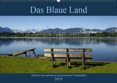 Das Blaue Land - Himmel, Seen und Berge im bayerischen Voralpenland (Wandkalender 2019 DIN A2 quer), Christof Wermter